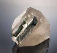 Green Tourmaline in Smoky Quartz