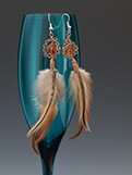 Feather, Amber & Copper Earrings