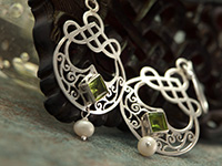 Sterling Silver Earrings with Peridot & Pearl