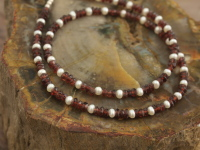 Garnet & Pearl Bead Necklace