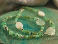 Green Tourmaline with Pearl & Prehnite Bead Choker Necklace