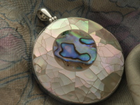 Inlaid Paua Shell & Mother of Pearl Pendant