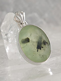 Prehnite with Epidote Pendant in Sterling Silver