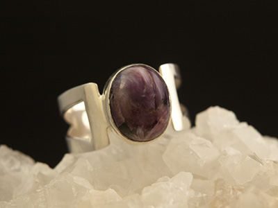 Charoite Ring in Sterling Silver