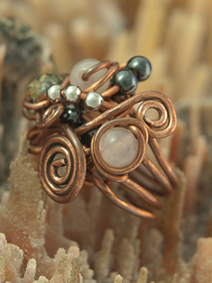 Copper and Bead Ring