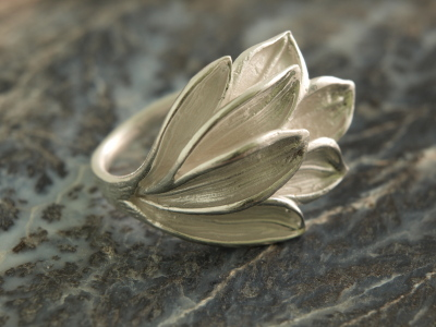 Brushed Sterling Silver Leaf Ring